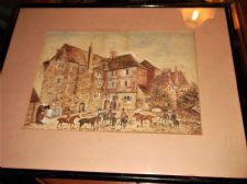 FRAMED GLAZED ORIGINAL NAIVE WATERCOLOUR SETTING OUT FOR THE HUNT COURTYARD